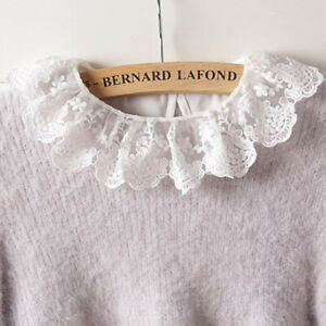 Lace-Ladies-Detachable-Lapel-Shirt-Fake-False-Collar-Blouse-Bib-Neckwear-WL