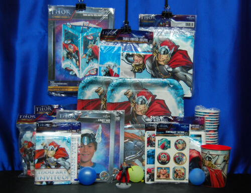 Thor Party Set # 24  Cups Banner Blowouts Hats Tablecover Invites Thanks Game++