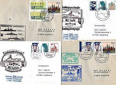 23481-o1 Fein 4 Belege Marineschiffspost Um 1990