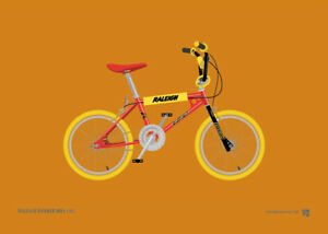 Raleigh-Burner-red-Old-School-BMX-A4-Print-Retro-gift