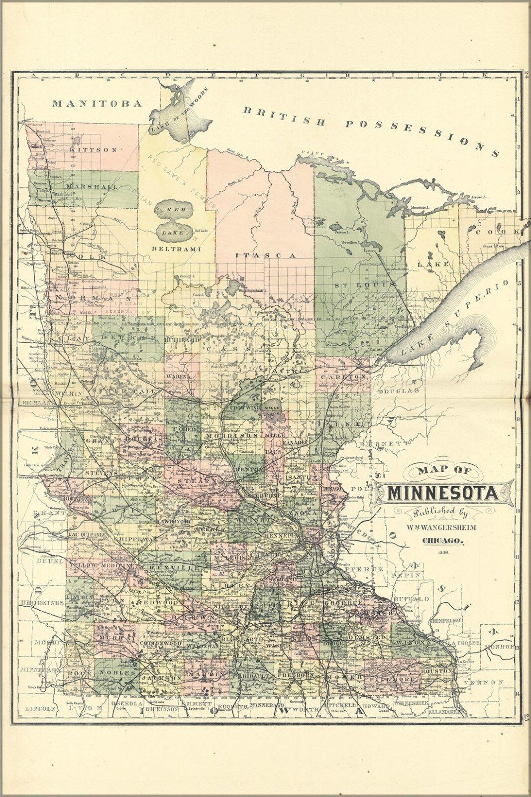 Plakat, Viele Größen; Karte von Minnesota 1889