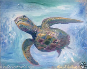 Sea-Turtle-8-034-x10-034-Limited-Edition-Oil-Painting-Print-Signed-Art-by-Artist-Home