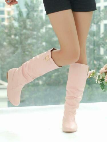 Details about  /Womens Brogues Low Heels Buckle Military Combat Pull On Slouch Knee High Boots