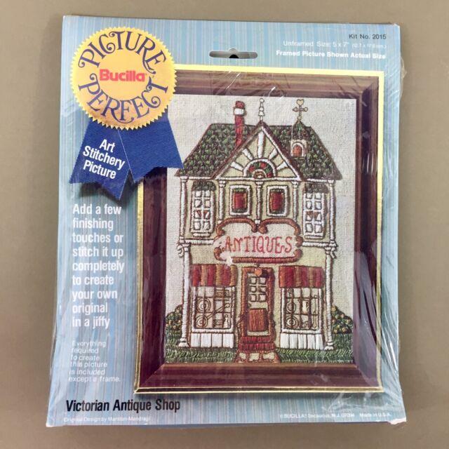 Victorian Antique Shop crewel embroidery kit store Bucilla Picture Perfect vtg