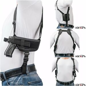 1911-3-034-4-034-5-034-Nylon-Horizontal-Shoulder-Holster-with-Double-Mag-Pouch-RH
