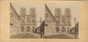Notre-Dame Parigi Francia Foto Stereo Vintage Albumina Ca 1870