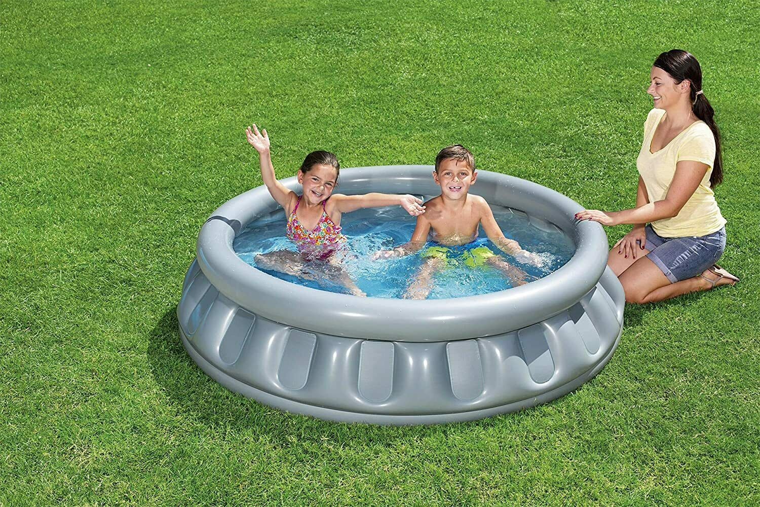 """H2OGO Space Ship Inflatable Blow Up Kid Swimming Pool Silver 60"""" Swim Summer Fun"""