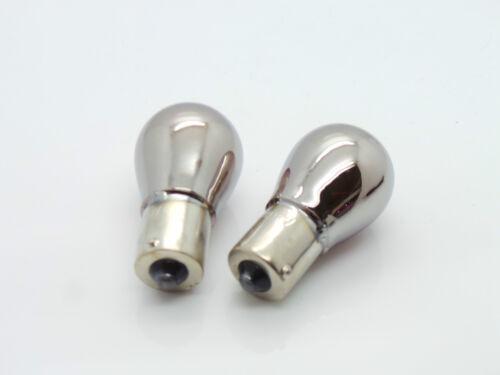 Orange 343 Pair Chrome Silver Opposite Pin Indicator Bulb Bulbs Flash Amber