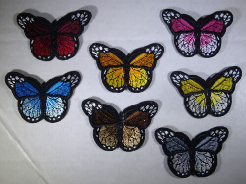 New TWO-TONE BUTTERFLY * You Choose Color * Monarch Iron On Embroidered Applique