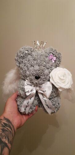 Angel Teddy Bear handmade  Flower  Wedding Birthday Gift for Wife anniversary uk