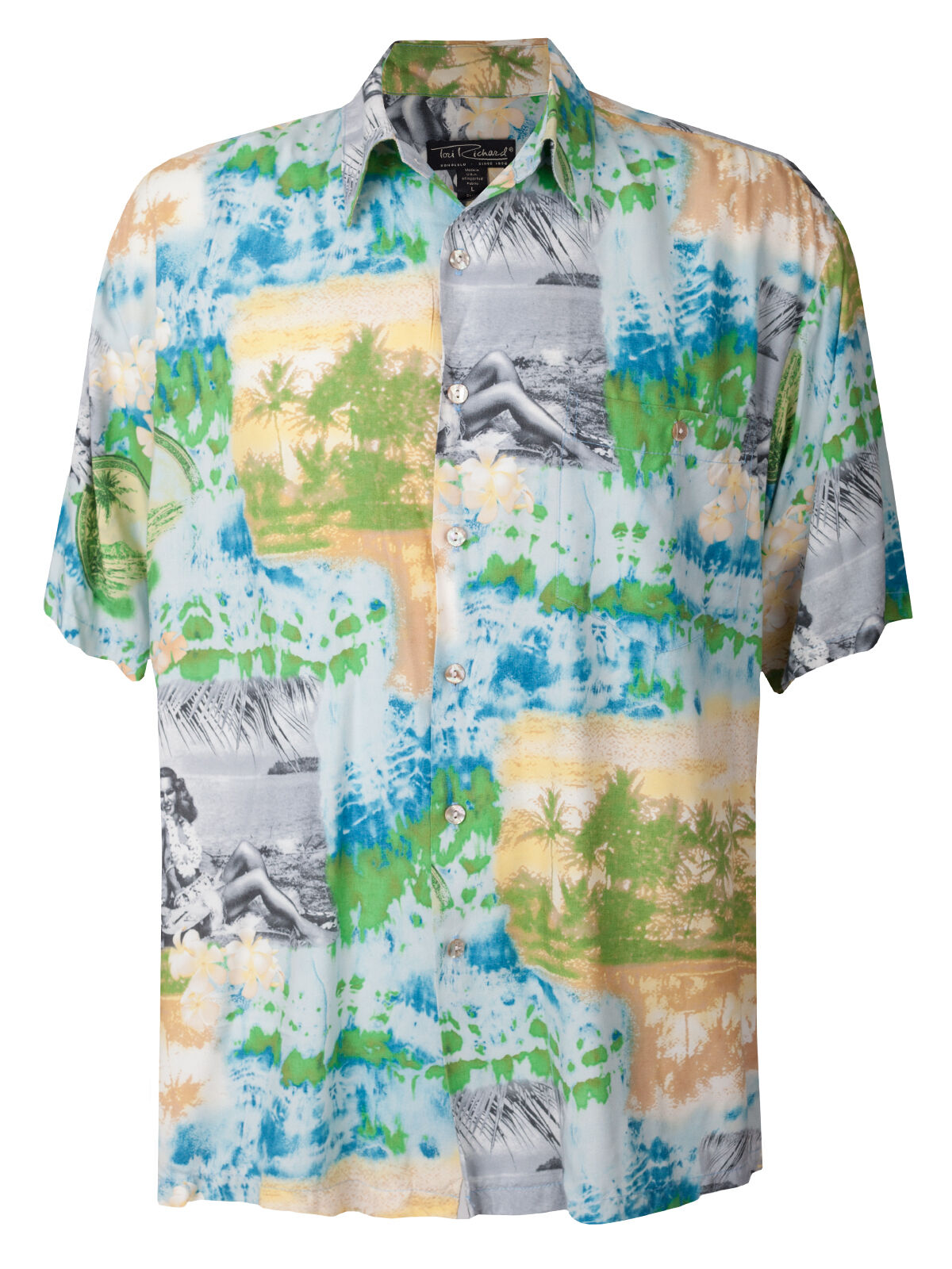 Men's Tori Richard Hawaiian Button Shirt Hula Girl Beach Tropical Vtg Viscose L