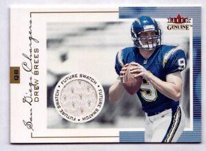 Drew Brees Rookie Jersey /1000 2001 Fleer Genuine #140 RC Chargers / Saints Card