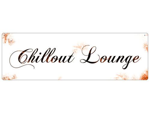Plaque Métallique Tôle Bouclier virent Chillout Lounge Shabby Vintage