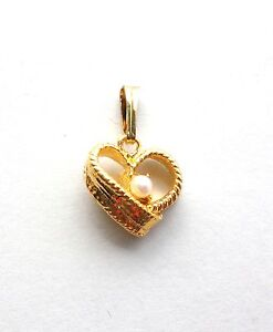 New-Heart-Pendant-Charm-Gold-Plated-Pearl-For-Necklace-Chain-Love-Free-Shipping