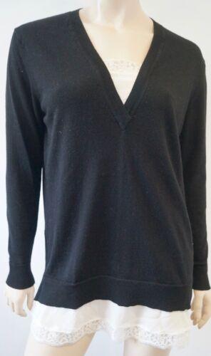 con da V a Maglia Sand merino merino in nera collo lana con donna scollo V lana in 2 a HSwwxRnO1q