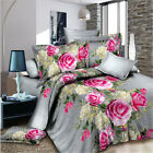 Pink Floral Queen Size Bed Quilt Doona Duvet Cover Set Pillow Cases Grey Linen