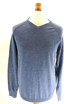 Crew Clothing Mens Jumper Sweater S Small Blue Merino Wool