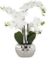 White Phalaenopsis Faux Orchid Artificial Flower Silver Ceramic Pot Accent Piece