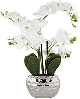 White Phalaenopsis Faux Orchid Artificial Flower Silver Ceramic Pot Accent Piece