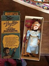 VINTAGE 1950's HAZELLE'S TALKING MARIONETTE ALICE  Puppet In orig box