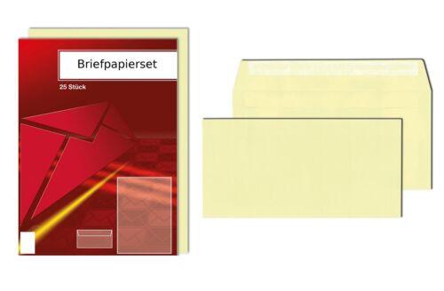25 Briefumschläge DIN lang 25 Blatt Briefpapier hellgelb Briefpapierset
