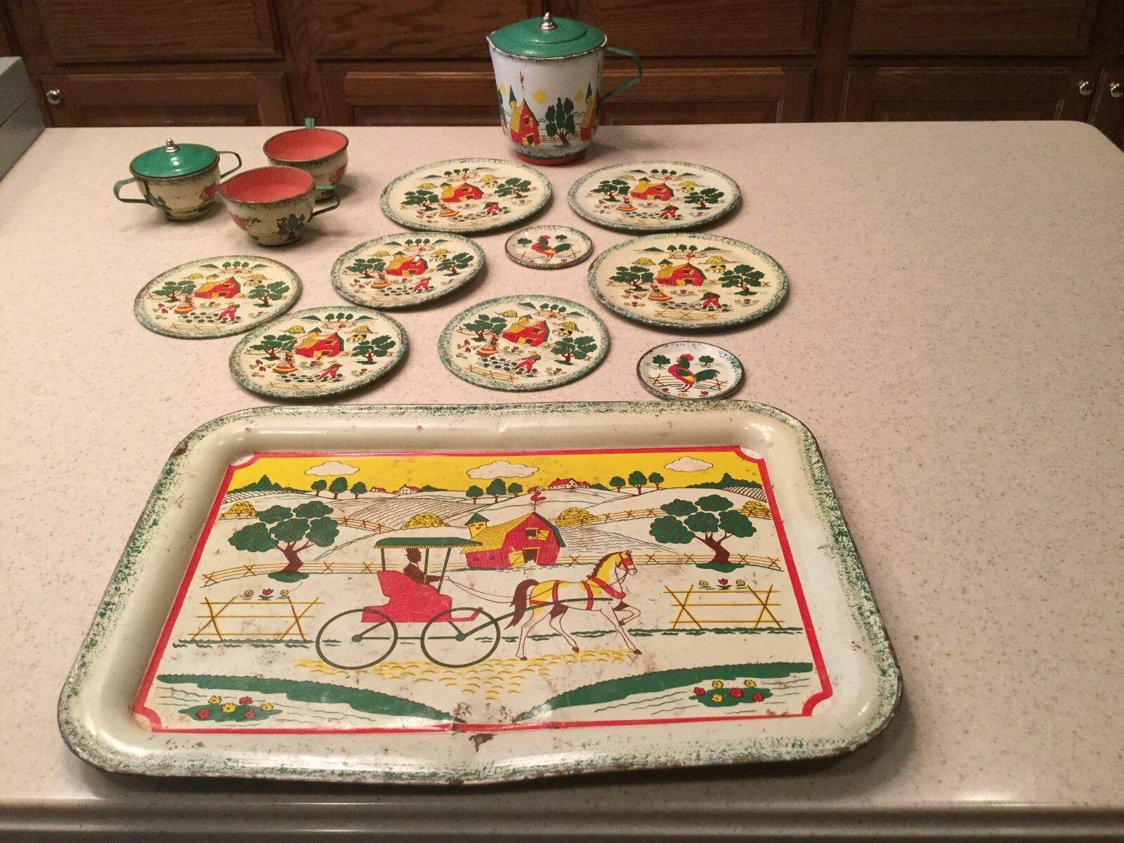 L'Ohio Art Tin Litho Tea Set Apple agricoltura paese Charm 14 Pieces