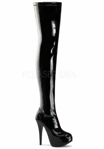 Bordello 5 3//4/'/' Heel 1 3//4/'/' Hidden Platform Stretch Thigh Boot Side Zip