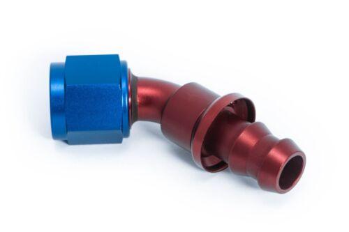 AN4 JIC4 Schlauch-Steckanschluss Dash 04 45° Blau-Rot 7//16-20UNF