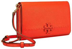 6e3a75adcf0c2c NWT Tory Burch McGraw Flat Wallet Leather Wallet Crossbody -- Poppy ...