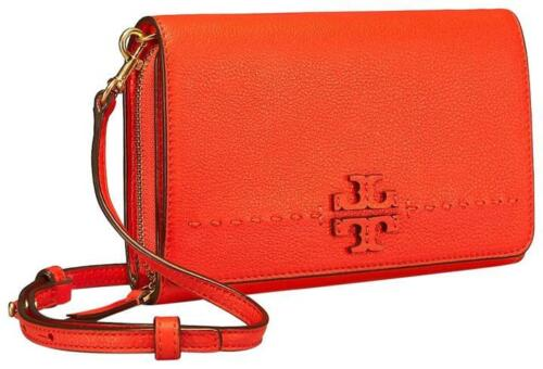 Poppy Red NWT Tory Burch McGraw Flat Wallet Leather Wallet Crossbody