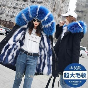 77fc28a68 Women Real Fox Fur Lined Jacket Parka Big Raccoon Fur Collar Hooded ...