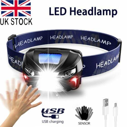 USB Sensor Head Light Torch Headlamp Headlight Lamp Rechargeable Lumens UK Brand