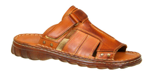 Men Natural Buffalo Leather Comfortable Orthopedic Form Sandals Shoes UK Sz 7-11