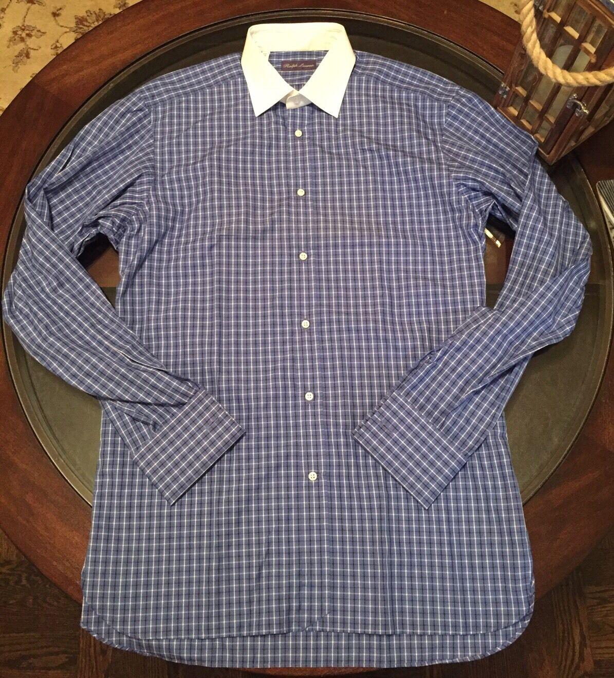 Ralph Lauren lila Label Dress Shirt Weiß Collar Sz 16 Frech Cuff Made n