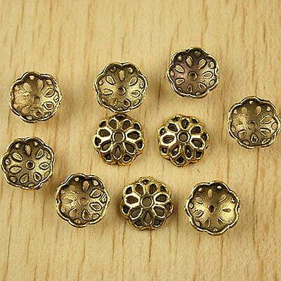 50pcs dark gold-tone flower spacer beads h2339