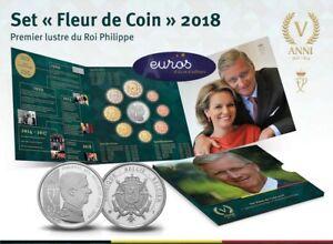 Set-BU-BELGIQUE-2018-Premier-Lustre-du-Roi-Philippe-Fleur-de-coin