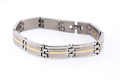 Obliging Men's Stainless Steel & 18k Yellow Gold Inlay 12.3mm Bracelet Ture 100% Guarantee Precious Metal Without Stones Bracelets