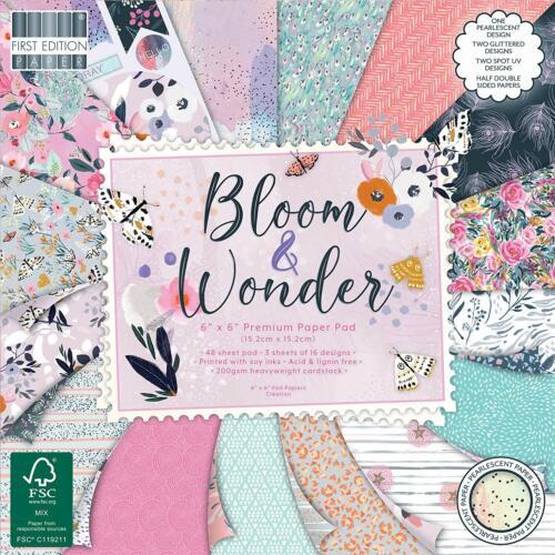 """6/"""" X 6/"""" 48 Hoja Completa Pad Bloom /& Wonder álbum de recortes elaboración de Tarjetas artesanal de papel"""