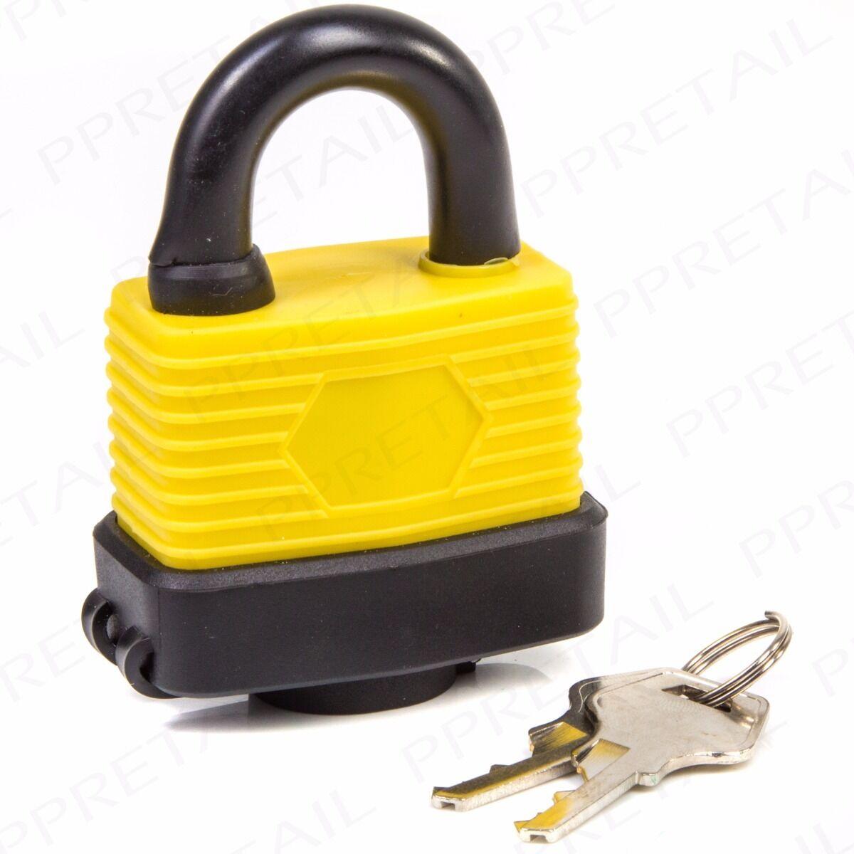 SMALL-LARGE Waterproof Padlocks 40mm//50mm//65mm HEAVY DUTY Locks /& Keys Weather