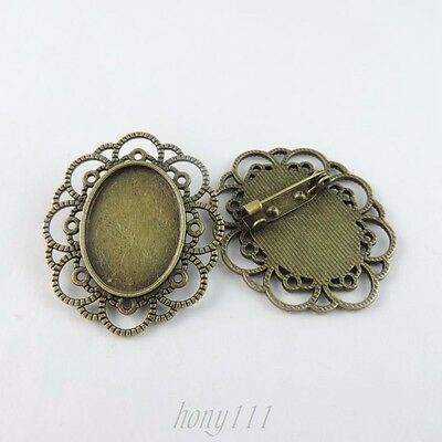 8pcs Vintage Style Bronze Alloy Oval Lace Cameo Setting Pin Brooch 38775