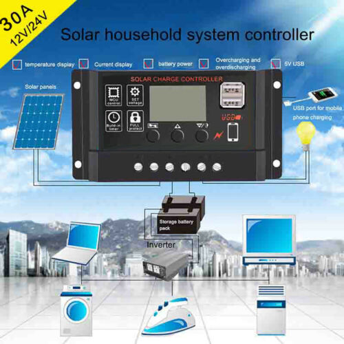 30A Solar Panel Controller Battery Charge Regulator 12V//24V Auto With Dual USB