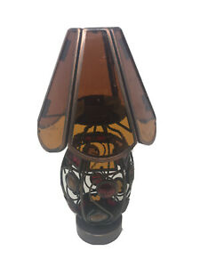 Tea-Candle-Lamp-Light-with-Stained-Glass-Shade-Metal-Frame-9-5-Tall