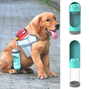 Details about Portable Dog Water Bottle Leak Proof Puppy Water Dispenser  with Feeder for Pets