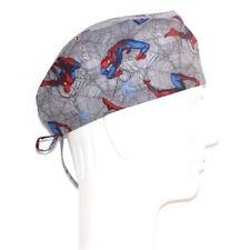Flying Spiderman on Gray Spider Net theme Scrub Hat