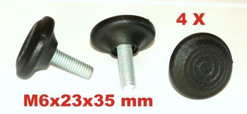 4x M6x23x35 mm Stellschraube Verstellfuß Möbelfuß Stellteller Stellfuß