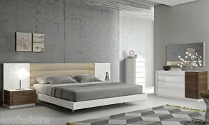 Premium 5 Piece King Size Bedroom Set White Lacquer Finish Built-In LED Lights