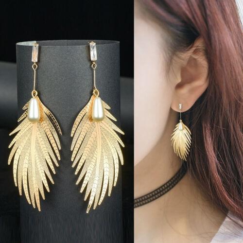 Womens Pearl Rhinestone Long Drop Dangle Leaf Feather Jewellery 6A