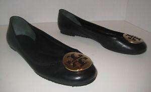 TORY BURCH REVA BALLERINA BALLET FLAT BLACK GOLD LEATHER  GOLD BLACK T LOGO ... bb1e62
