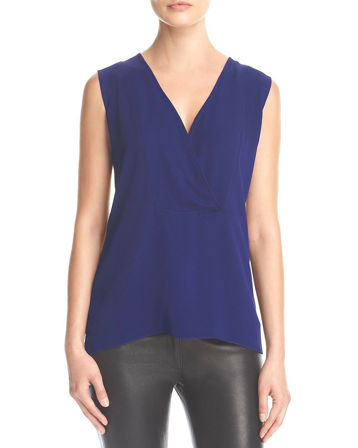 THEORY Women's blueE CredVER SILK SHELL TOP SLEEVELESS BLOUSE Small NWT
