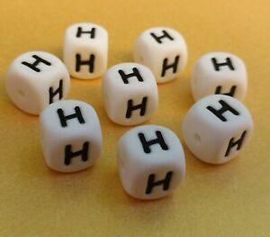 10 x 12mm Silicone Letter G Beads teething necklace jewellery name BPA free Kids
